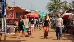 Shoppers at Flea Market in Anjuna Goa Stock Footage