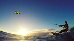 Extreme Kitesurfing Girl at Sunset. Summer Ocean Sport in Slow Motion. Stock Footage