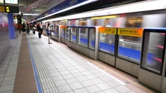 Modern subway fast train arrival, platform breeze, Taipei underground Stock Footage