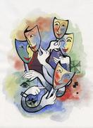 Theatrical masks Stock Illustration