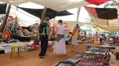 Weekly Flea Market of Anjuna Goa Stock Footage