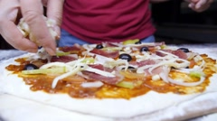Pizza with Ham, Pepperoni, Pepper, Mozzarella and Olives Stock Footage