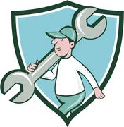 Mechanic Monkey Wrench Walking Crest Cartoon Stock Illustration