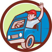 Stock Illustration of Delivery Man Waving Driving Van Circle Cartoon .