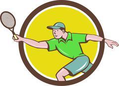 Tennis Player Racquet Forehand Circle Cartoon Stock Illustration