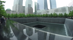 The South Pool at the National September 11 Memorial in NYC Stock Footage