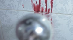 Shower to wash the blood off the wall Stock Footage