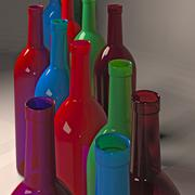 Still life with colored bottles of wine. - stock illustration