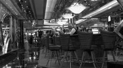 Cruise ship luxury bar and lounge near casino bw 4K - stock footage