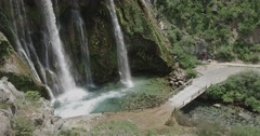 Waterfall Krcic bridge in Knin Stock Footage