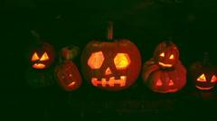Jack o lanterns night pumpkin pumpkins Stock Footage
