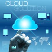 Future touchscreen interface with hand - cloud solution concept - stock illustration