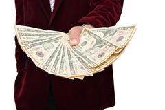 Bank Loan or can concept professional holding dollars in hand - stock photo