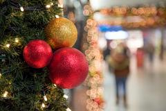 Stock Photo of Christmas Celebration Decoration Colorful Balls on Tree