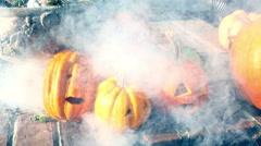 Jack o lanterns pumpkins outside Stock Footage
