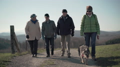 Four retirees walking on path in rural landscape Stock Footage
