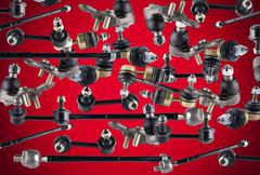 Stock Photo of Many spare parts for chassis passenger car