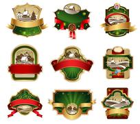 Stock Illustration of Christmas labels with lovely winter landscape