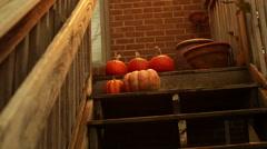 Pumpkins on stairs stairway pumpkin deck 2 Stock Footage