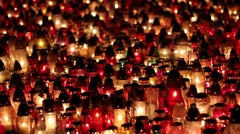 Grave candles at night Stock Footage