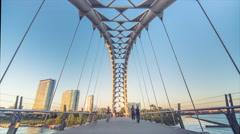 Humber Bay Bridge Pedestrian Bridge Toronto Low Angle Stock Footage