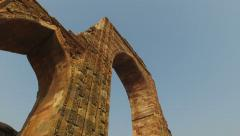 Arches at the Qutb Minar complex - India Stock Footage