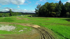 Truck racing in a beautiful landscape Stock Footage