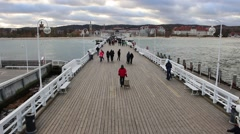 People strolling on the pier in Sopot , Poland Stock Footage