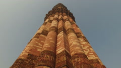 Qutub Minar red sandstone tower (minaret) in Delhi, India Stock Footage