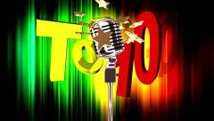 Top 10, microphone and stars Stock Footage