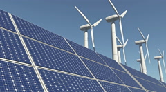 4k Solar panels & Wind power,green free clear energy. Stock Footage