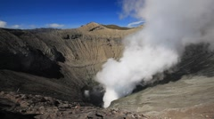 Creater of Bromo volcano, Tengger Semeru national park, East Java, Indonesia Stock Footage