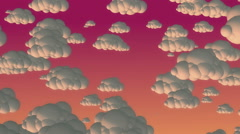 Cartoon flying clouds in the evening sky - stock footage
