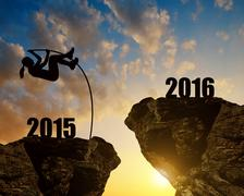 Girl jumps to the New Year 2016 - stock photo