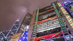 Time Lapse video night shot in Hong Kong central district during Christmas time Stock Footage