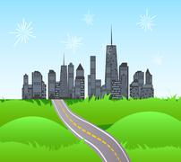 Solar Road in the City of Nature. Vector Illustration - stock illustration