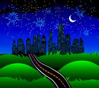 Night Road to the Town of Nature. Vector Illustration Piirros