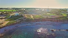 Aerial Israel. Caesarea Maritima Herods castle Amphitheater coliseum - stock footage