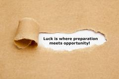 Luck is where preparation meets opportunity - stock photo