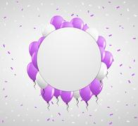 Stock Illustration of circle badge and violet balloons
