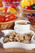 abundance food meat , vegetables, fruits (stewed chicken, tea, tomatoes, pepp - stock photo