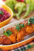 the meat kebab skewer - stock photo