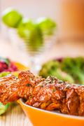 The meat kebab skewer Stock Photos