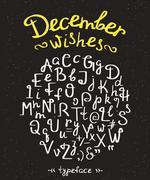 December wishes handwritten font with swirls Stock Illustration