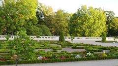 Fountain and garden near Branicki Palace in Bialystok Stock Footage