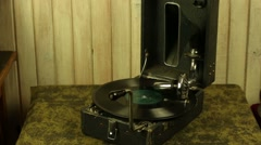 Vintage gramophone plays a record Stock Footage