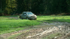 Big truck that is dirty from the outside comes to a halt - stock footage