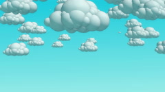 Cartoon flying clouds in the daytime sky Stock Footage