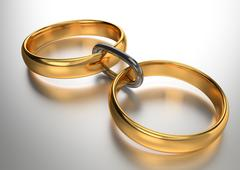 Wedding gold rings connected chain - stock illustration