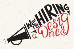 We are hiring a designer. Modern illustration of typography letters design Stock Illustration